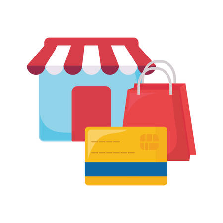 online shopping commerce market credit card bag vector illustration Çizim