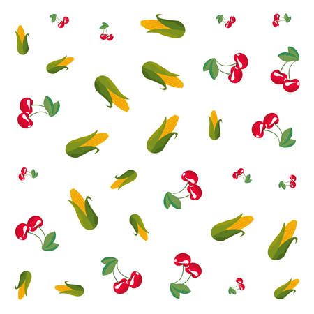 corns and cherries decoration white background vector illustration