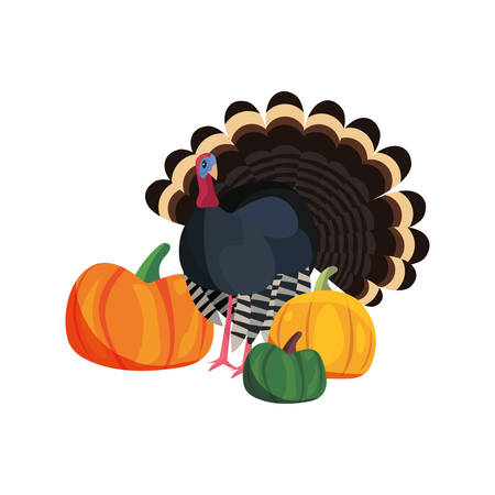thanksgiving turkey and pumpkins food vector illustration vector illustration  イラスト・ベクター素材
