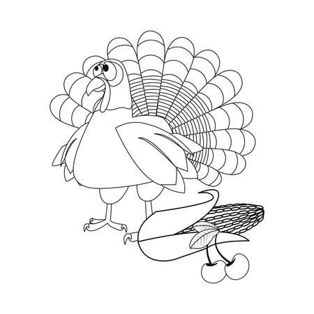 thanksgiving turkey corn cherry vector illustration vector illustration