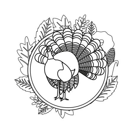 cute turkey and maple leaves vector illustration vector illustration  イラスト・ベクター素材