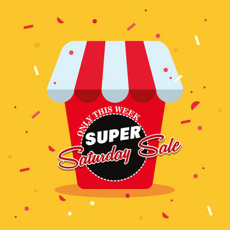 super saturday sale store shop confetti decoration vector illustration  イラスト・ベクター素材