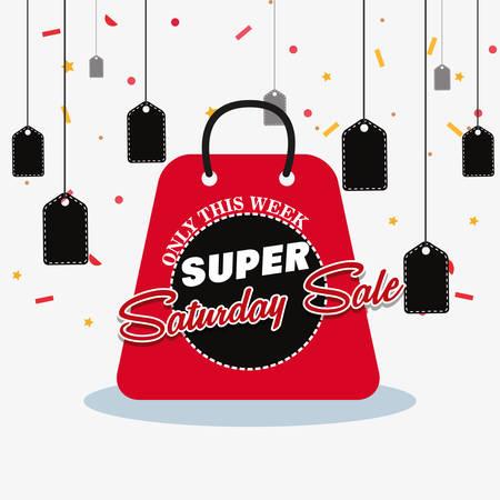 super saturday sale shop bag tickets decoration vector illustration