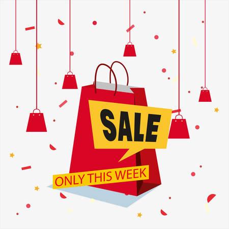 sale shop bag offer discount confetti vector illustration Illustration