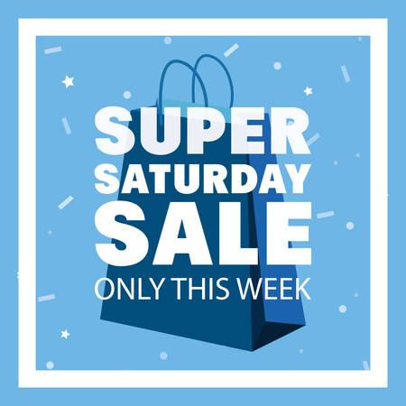 super saturday sale frame blue shop bag vector illustration