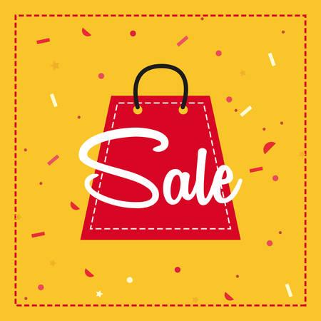 shop bag sale frame confetti vector illustration