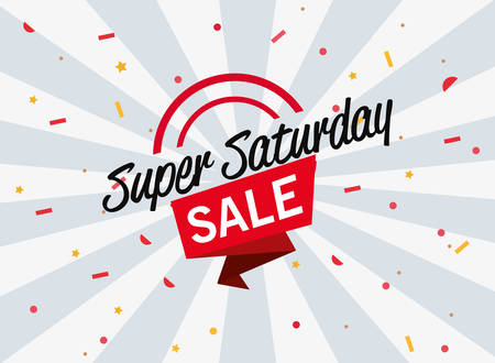 super saturday sale ribbon decoration confetti vector illustration Vectores