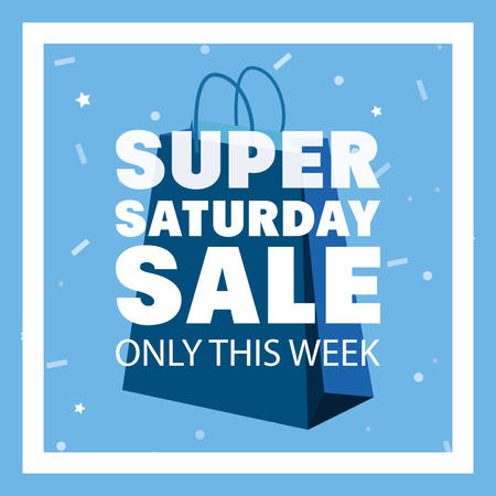 super saturday sale frame blue shop bag vector illustration