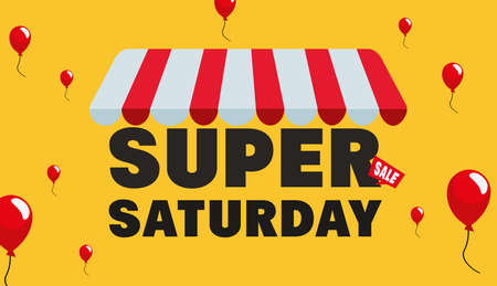 super saturday sale store balloons vector illustration Banque d'images