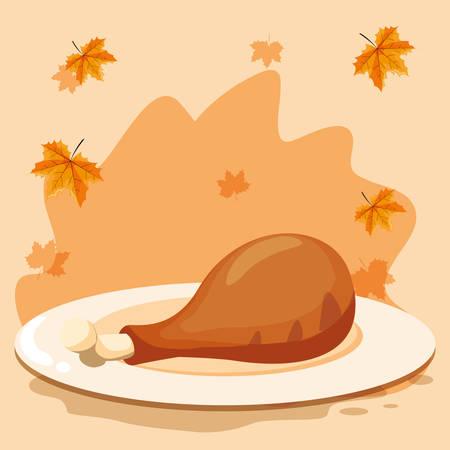 dish with chicken thigh over orange background, vector illustration