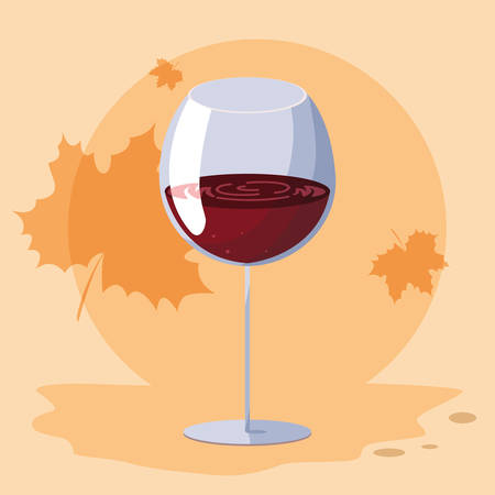Wine glass icon over orange background, vector illustration