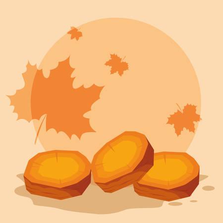 sweet potatoes slices over orange background, vector illustration