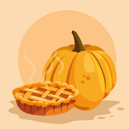 pumpkin and apple pie icon over orange background, vector illustration