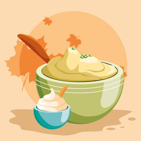 bowl with mashed potatoes over orange background, vector illustration