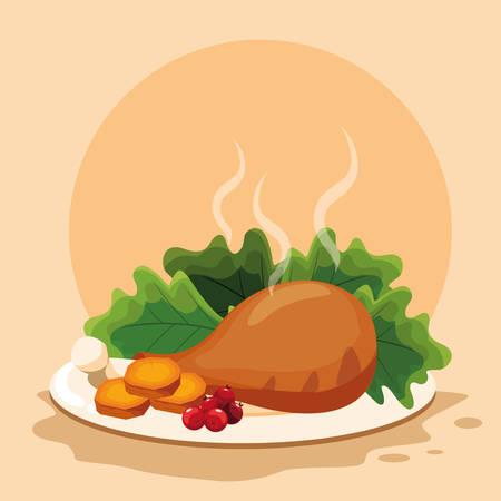 plate with chicken thigh with salad over orange  background, vector illustration Standard-Bild - 112789928