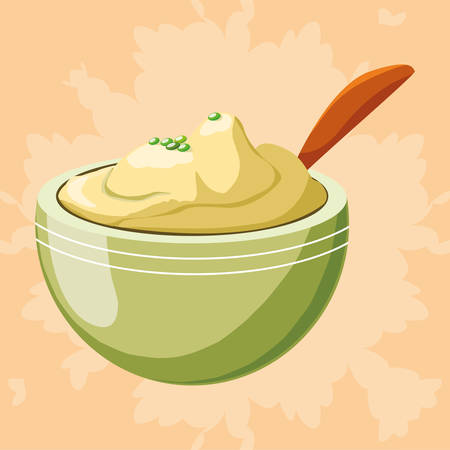 bowl with mashed potatoes over orange  background, vector illustration Illustration