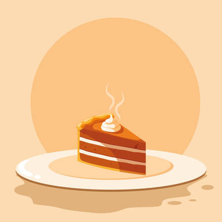 plate with piece of cake over white background, vector illustration