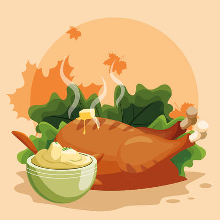 Grilled chicken with salad  and mashed potatoes over orange background, vector illustration