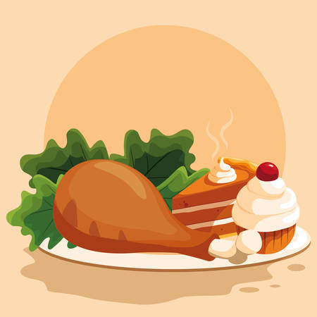 plate with chicken thigh with salad over orange  background, vector illustration