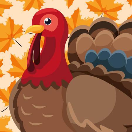 cartoon Turkey icon over orange background, vector illustration