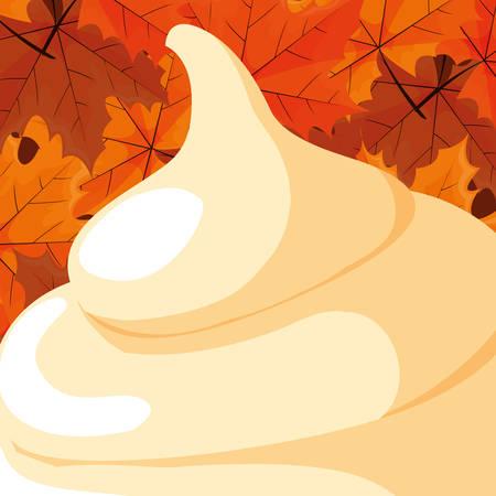 mashed potatoes icon over orange background, vector illustration