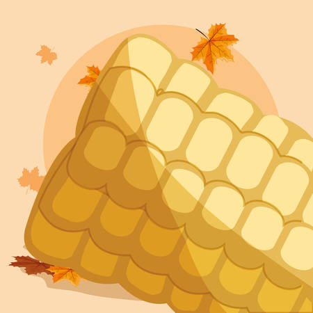 grilled corn and dry leaves around over orange background, vector illustration