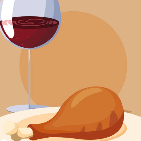 Wine glass and grilled chicken thigh icon over orange background, vector illustration