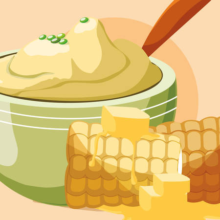 grilled corn and bowl with mashed potatoes over orange background, vector illustration Illustration