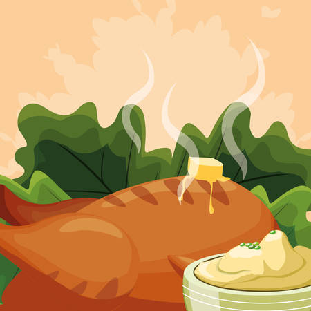 Grilled chicken with salad  and mashed potatoes over orange background, vector illustration Archivio Fotografico - 112789976