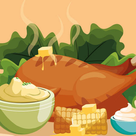 Grilled chicken with salad  and mashed potatoes over orange background, vector illustration Archivio Fotografico - 112789978