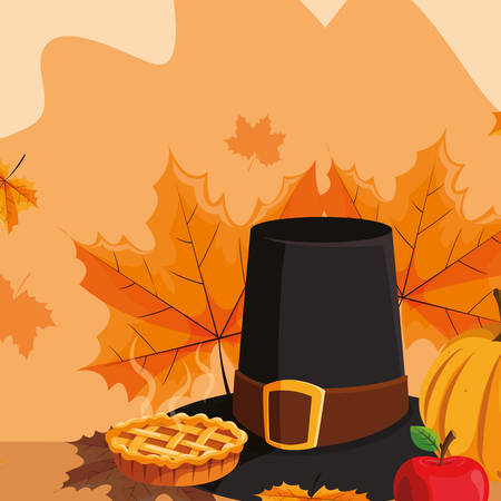 food with apple pie and pilgrim hat icon over orange background, vector illustration