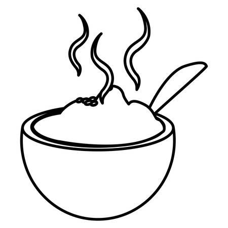 bowl with hot mashed potatoes over white background, vector illustration Ilustração