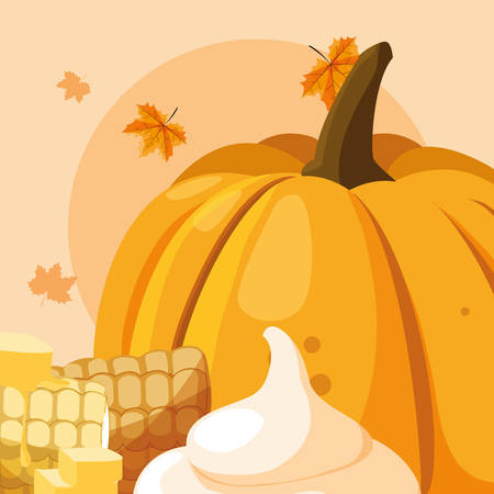 pumpkin and grilled corn icon over orange  background, vector illustration