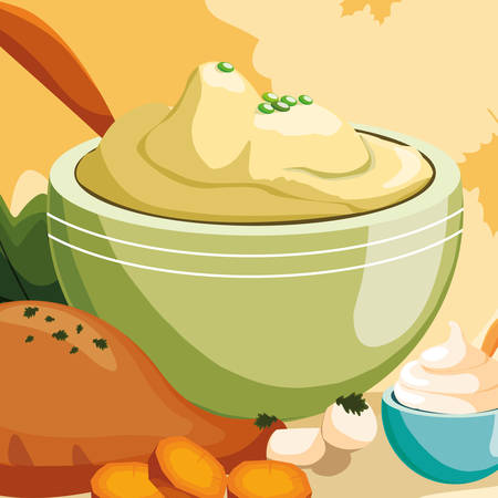 bowl with mashed potatoes and chicken thigh over orange background, vector illustration