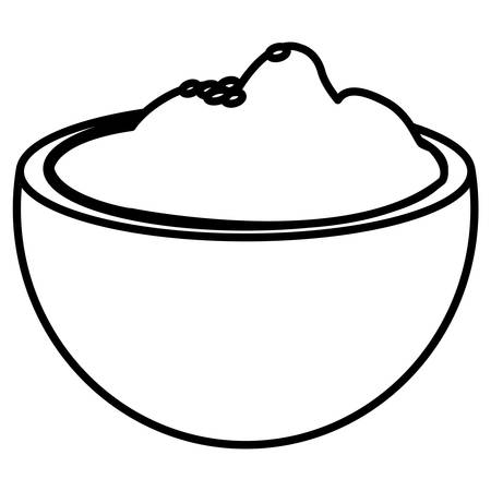 bowl with mashed potatoes over white background, vector illustration