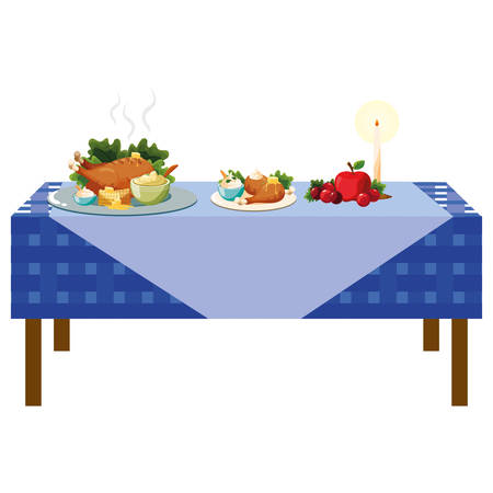 Thanksgiving table with roasted turkey and mashed potatoes over white background, colorful design. vector illustration