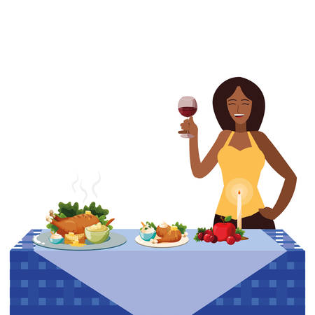 Happy woman with wine glass up over thanksgiving table with food, colorful design, vector illustration