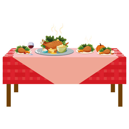 Thanksgiving dinner design with table with roasted chicken and food over white background, vector illustration