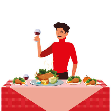 Thanksgiving dinner design with cartoon man next to a table with roasted chicken and food over white background, vector illustration