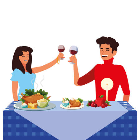 cartoon happy couple with wine glasses and next to a thanksgiving table with food over white background, colorful design. vector illustration