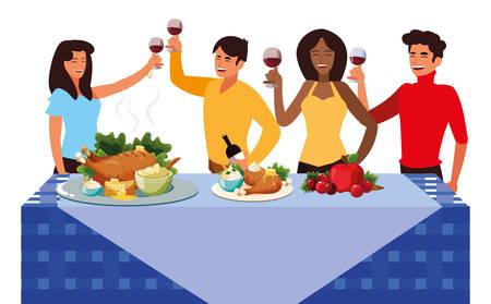 Thanksgiving-Dinner-Design mit Cartoon-Leute neben einem Tisch mit gebratenem Hühnchen und Essen auf gelbem Hintergrund, Vektorillustration