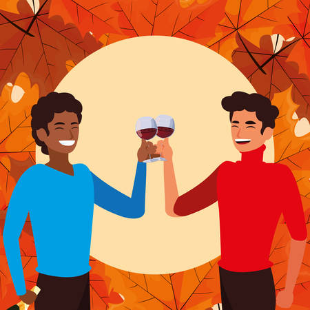 happy men holding a wine glasses over orange background, colorful design, vector illustration
