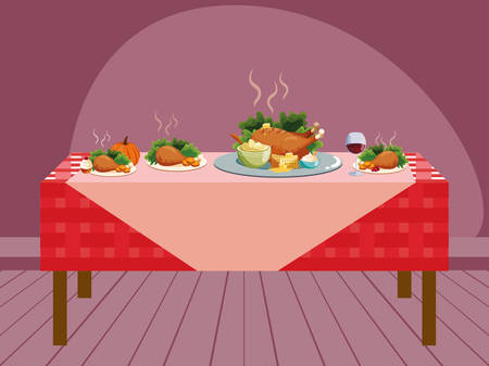 Thanksgiving table with roasted turkey and food plates over red background, colorful design. vector illustration