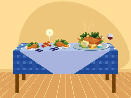 Thanksgiving table with roasted turkey and mashed potatoes over yellow background, colorful design. vector illustration