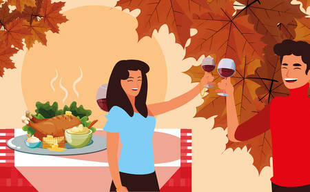 cartoon happy couple with wine glasses and next to a thanksgiving table with food over orange background, colorful design. vector illustration