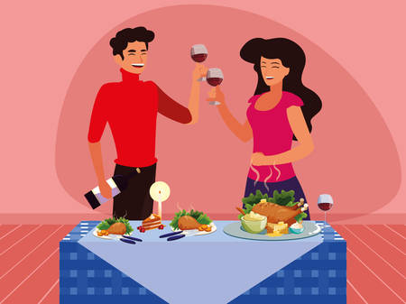Happy couple next to a thanksgiving table over pink background, colorful design, vector illustration