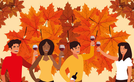 cartoon happy people with wine glasses up over dry leaves and  orange background, colorful design. vector illustration  イラスト・ベクター素材