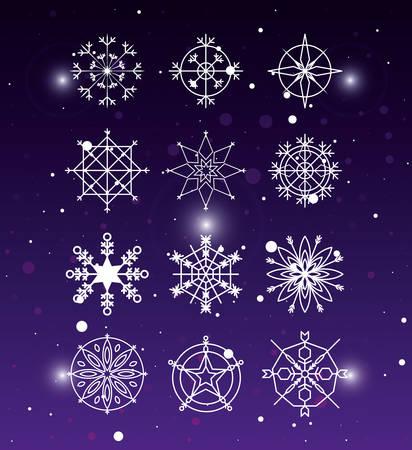 snowflakes set of decorative christmas vector illustration design Illustration