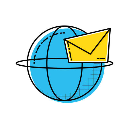 envelope mail with sphere vector illustration design Illusztráció