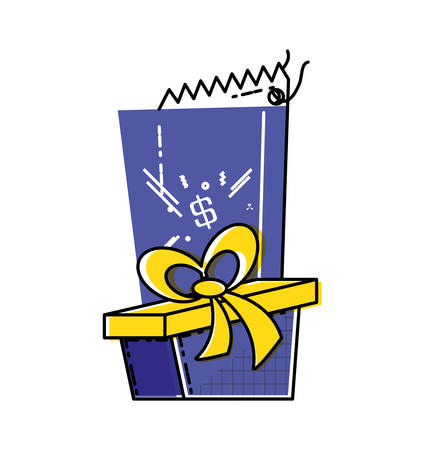 gift box present with commercial tag hanging vector illustration design